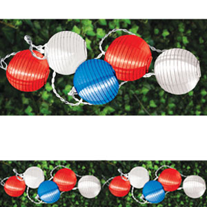 Red White Blue Lantern Light Set - 11ft