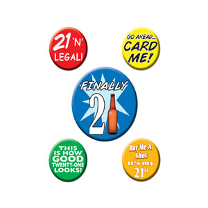 21st Birthday Party Buttons - 5ct