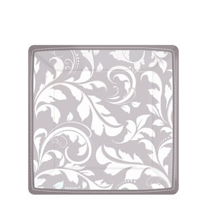 Silver Elegant Scroll 7 Inch Square Metallic Plates- 8ct