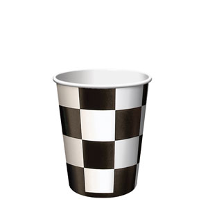 Black Check 9 oz. Cups