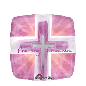 Joyous Communion Cross Pink Balloon- 18in