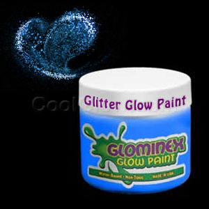 Glominex Glitter Glow Paint 8 oz Jar - Blue