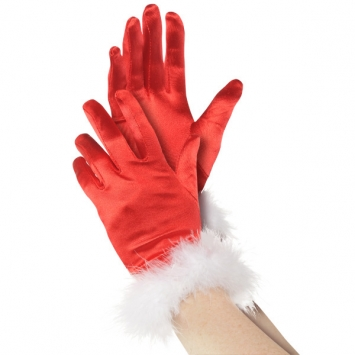 Mrs. Claus Fabric & Plush Gloves
