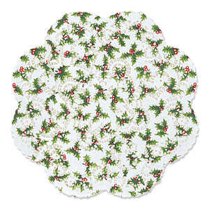 Holly Round Dollies- 12 Inch 6ct