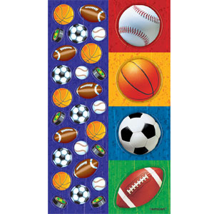 Mixed Sports Fun Metallic Stickers- 8ct