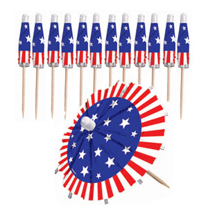 Patriotic Umbrella Picks- 24ct