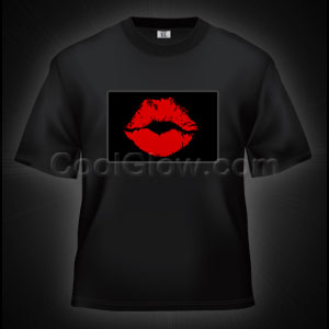 LED Sound Activated T-Shirt - Lips