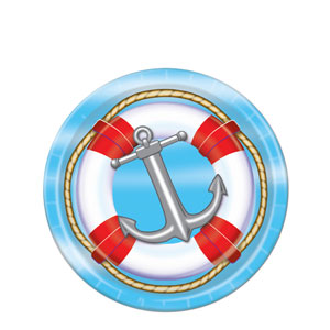 7 Inch Nautical Plates- 8ct