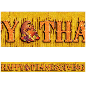 Glitter Thanksgiving Fringe Banner- 10ft