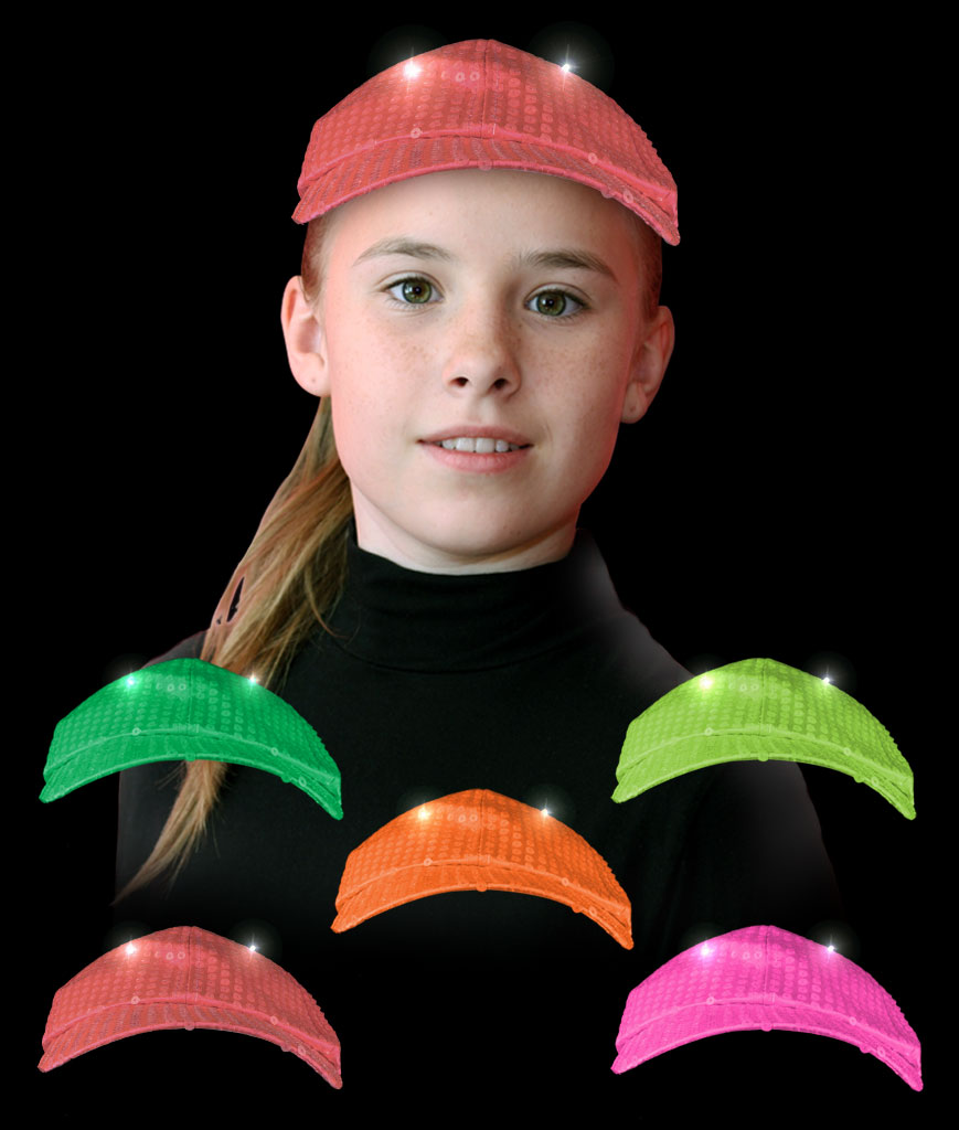 LED Neon Sequin Baseball Hat - Assorted