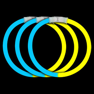 8 Inch Glow Bracelets - Blue-Yellow
