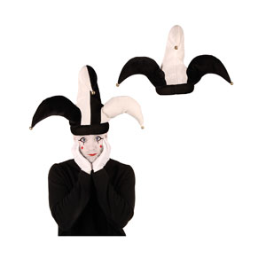 Plush Black and White Jester Hat - Full Size