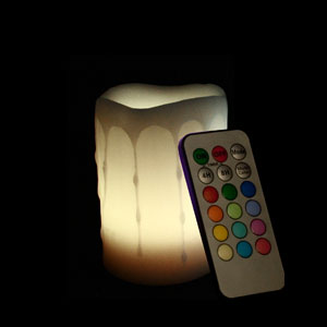 4 Inch Flameless Remote Control Pillar Candle - Melted Edge - Multicolor