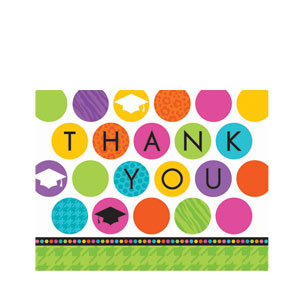 Colorful Commencement Diecut Thank You Cards- 50ct