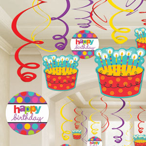 Happy Birthday Dots and Stripes Swirls- 30ct