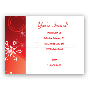 Red Snow Burst 'Happy Holidays' - Custom Invitations