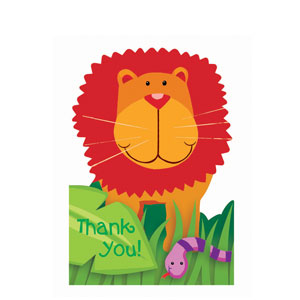 Jungle Animals Thank You Cards- 8ct