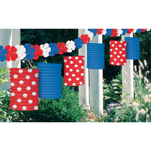Patriotic Flower Lantern Garland- 12ft