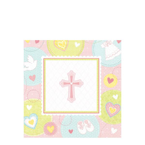 Sweet Christening Pink Luncheon Napkins- 16ct