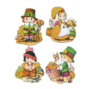 Thanksgiving Kiddie Cutouts 12in - 4ct