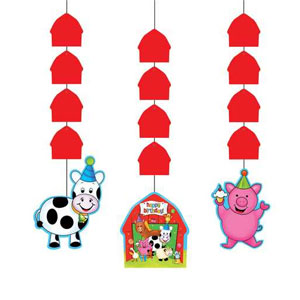 Barnyard Bash Hanging Cutouts- 3ct