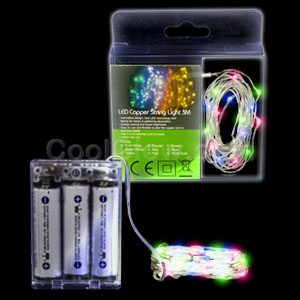 LED 10 Foot Copper String Light - Multicolor