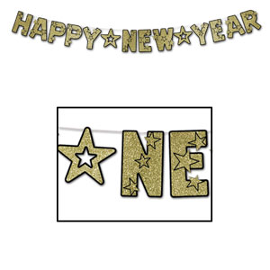 Glittered Happy New Year Streamer - Gold