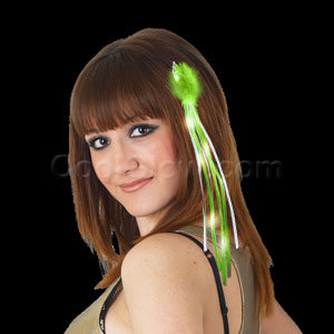 Fun Central AD164 LED Light Up Ribbon Hair Extension - Green