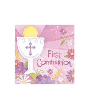 First Communion Pink Luncheon Napkins- 36ct