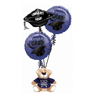Purple Grad Bear Balloon Bouquet- 4pc