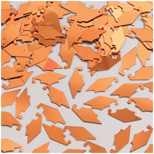 Grad Cap Confetti - Orange