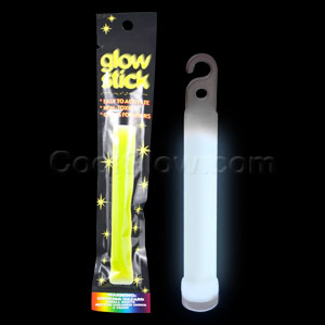 Fun Central I22 4 Inch Retail Packaged Glow in the Dark Stick - White