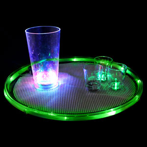 Lighted 14 Inch Serving Tray - Green