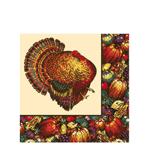 Autumn Turkey Paper Table Cover- 96 Inch