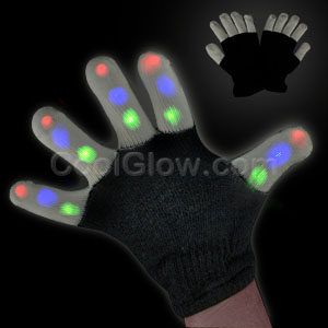 Fun Central AI354 LED Light Up XO Fingertip Gloves