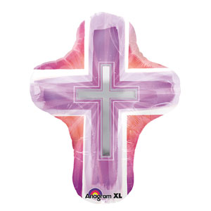 Joyous Cross Pink Balloon - 18 Inch