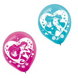 Disney Little Mermaid Printed Latex Balloons- 6ct