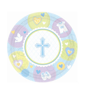 Sweet Christening Blue 10 Inch Plates- 8ct