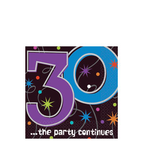 The Party Continues-30 Beverage Napkins- 16ct