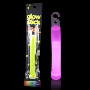 6 Inch Retail Packaged Glow Stick - Pink