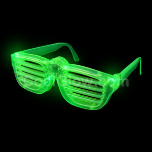 LED Rock Star Shutter Shades - Green