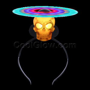 LED Spinning Windmill Headband - Skull