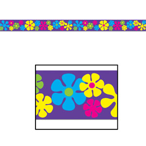 Retro Flowers Party Tape - 20ft