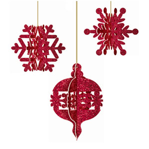 Holiday 3D Hanging Decoration- 5 Inch 3ct