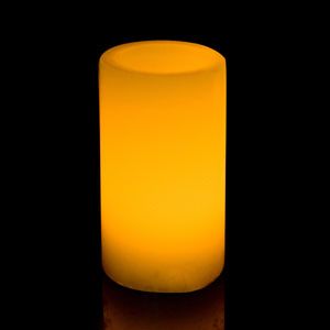 6 Inch Flameless Pillar Candle with Timer - Smooth Edge - Yellow