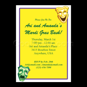 Yellow Theatre Masks - Custom Invitations