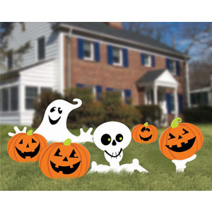 Skeleton Lawn Signs- 6pc