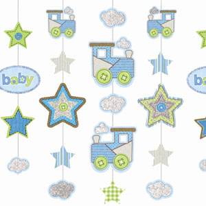 Baby Boy Glitter Hanging Decoration - 36 Inch 5ct