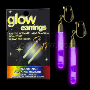 Glow Pendant Earrings - Purple