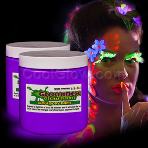 Glominex Glow Body Paint 8 oz Jar - Purple